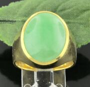 Pre Owned 24k Solid Yellow Gold Natural A Oval Jade Ring Solitaire Size 8