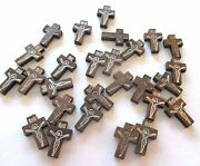 Wholesale Lot Of 100 Small Wood Crucifixes, 7/8 Inch, Holes For Necklace Cords