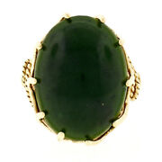 Vintage 10k Yellow Gold Large Oval Jade Ring W/ Twisted Wire And Open Work Basket