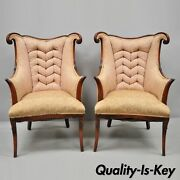 Pair Vtg Hollywood Regency French Style Mahogany Armchairs After Dorothy Drapes