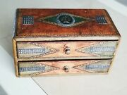 Antique French Victorian Green Brown Leather N Wood N Cameo Trinket Jewelry Box