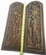 Vintage Pair Of Asian Chinese Style Wood Hand Carved Hanging Wall Panels It/245