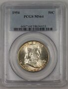1954 Franklin Silver Half Dollar 50c Coin Pcgs Ms-64 Peripheral Toning 1a