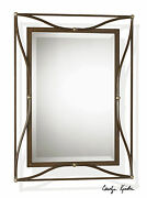 Industrial Western Decor 38 Aged Bronze Iron Beveled Wall Vanity Mirror Thierry
