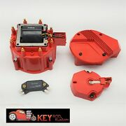 Gm Hei Red Distributor Cap And Rotor Set Sbc Bbc 65k Volt Coil Module Tune Up Kit