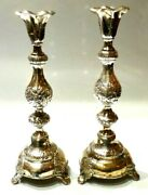 Russian Silver Pair Of Candlesticks Antique