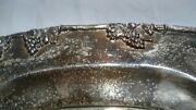 Vintage Grape Motif Sheffield Silver Plated On Copper Oval Serving Tray 24x15.5
