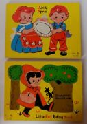 Vintage Connor Toys Little Red Riding Hood And Jack Sprat Wood Puzzles