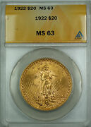 1922 20 St. Gaudens Double Eagle Gold Coin - Condition And Grade Anacs Ms-63 Bs