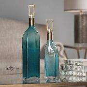 Pair 15 And 19 Textured Glass Teal Green Decorative Bottles Coffee Bronze Top
