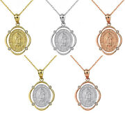 Yellow White Rose Gold Our Lady Of Guadalupe Diamond Frame Oval Pendant Necklace