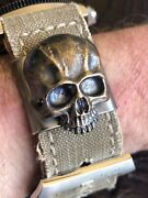 Steel Flame Tactical Molle Clip For Watchstrap - Xl 3d Bronze Warrior Skull