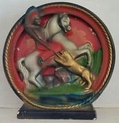 Vintage Collectible Chalkware Reverse Painted Glass Indian Horse Lamp Light