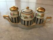 Antique Made In Japan Noritake Salt/pepper Shakers And Spice W/tray