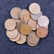 1924 S Half Roll Of 25 Lincoln Wheat Pennies No Culls