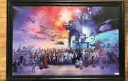 Star Wars Character Collage Wood Framed Textured Collectible Picture Print