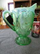 Antique Dugan Glass Green Opalescent Jeweled Heart Water Pitcher