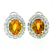 Fine 18k White Gold 7.80ct Oval Citrine And Brilliant Diamond Double Halo Earrings