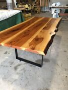 Solid Pecan Wood Live Edge Dining Conference Room Tableandnbsp