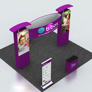 20ft Portable Fabric Trade Show Display Pop Up Banner Booth Counter Lights Sets