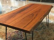 Rustic Cherry Wood Coffee Table With Hairpin Legs