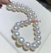 Australia Top 1912-15mm Real South Sea Perfect Round White Pearl Necklace 14k