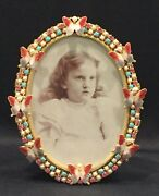 Vintage Oval Jeweled Picture Frame With Elegant Enamel Butterflies