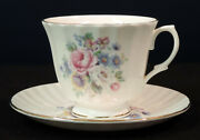 Royal Kingston Bc Cup And Saucer Pink White And Blue Flowers Embossed Body Gold Trim