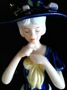 Vintage  Victorian Blue And White Porcelain  Beautiful Lady Figurines