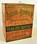 Antique Loverin And Browne Chicago 1880 Metal General Store Counter Bin Display