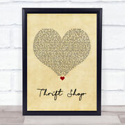 Thrift Shop Vintage Heart Song Lyric Quote Print