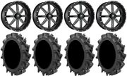 Fuel Maverick Black 22 Wheels 35 Motohavok Tires Kawasaki Mule Pro Fxt