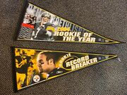 2004 Pittsburgh Steelers 2 Pennant Lot Ben Roethlisberger Rookie Of The Year