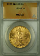 1928 St. Gaudens Double Eagle 20 Gold Coin Anacs Ms-63