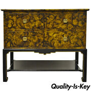 Chinoiserie Two-door Faux Tortoise Shell Oil Drop Cabinet Or Side Table By Baker