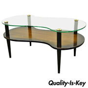 Mid Century Modern Mahogany And Glass Cloud Coffee Table After Gilbert Rohde