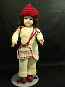 Beautiful Antique 17 German Bisque Head Open Mouth Doll Knitted Clothing