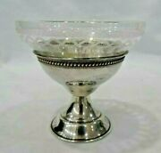 Rare Antique Sterling Silver Threaded Etched Crystal Dessert Glasses Cups