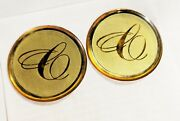 Set Of 4 Nos Cadillac Appliance Fine Wire 1 3/4 Gold And Gold Wire Wheel Emblems