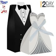 100pcs Party Wedding Favor Dress And Tuxedo Bride And Candy Box