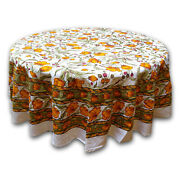 Cotton Floral 70 Inches Round Tablecloth White Amber Olive Roundy Beach Sheet