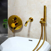 Bathroom Gold Wall Mount Shower Faucet Set Round Shower Head+handheld Mixer Taps