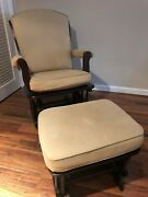 Pottery Barn Kids Sleigh Glider And Ottoman Natural Twill/espresso Wood