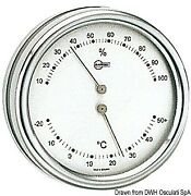 Barigo Orion Series Thermometer Hygrometer Polished Ss Silver Dial 102mm