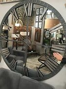 Amelie Mirrored 60 Aged Metal Round Wall Roman Clock Modern Industrial