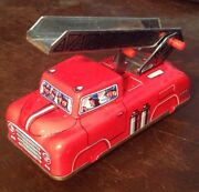 Vintage Metal Hs-510 Fire Truck Press N Go Friction Tin Toy Litho West Germany