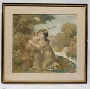 Antique Fine 18th Century Copper Engraving Silk Embroidery Fine Tapestry Panel