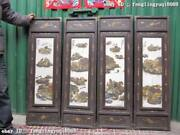 Chinese Old Wood Inlay Wucai Porcelain Landscape Scenery Screen Set