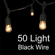Globe String Lights With Suspensors - 50 Light Commercial Grade Black Wire