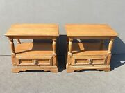 Pair Vintage Mid Century End Tables French Country Cottage Nightstands